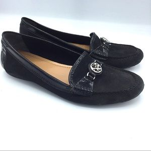 Coach Fonda Black Leather Loafer Flats 37